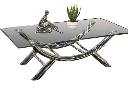 Coffee Table - Chrome Look Arch Glass Top