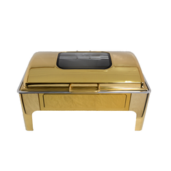 Chafing Dish - Gold Rectangular Flat Top With Glass
