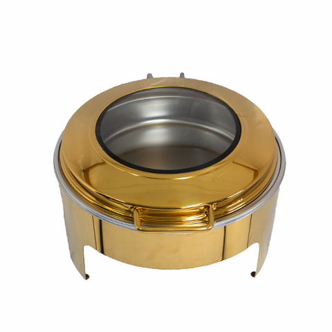 Chafing Dish - Gold Round Flat Top With Glass