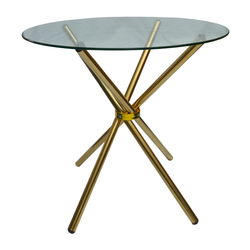 4 Seater Round Cafe Table - Gold Legs