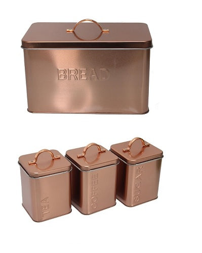 Bread Bin & Canister Set - 4pc Metal