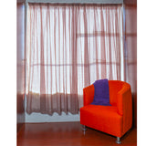 Ready Made Lace Curtain - Stripe Frosted Voile