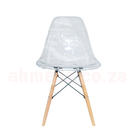 Emmy Wooden Leg Cafe Chair - Clear