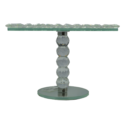 Cake Stand - Rectangle Mirror Crystal