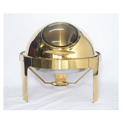 Chafing Dish - Round Gold with Glass