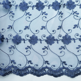 Embroidered Tulle - Blue
