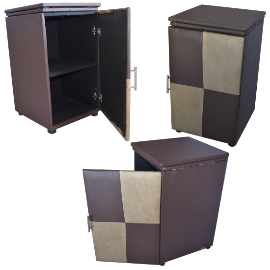 Pedestal - PU Leather Single Door + 2 Shelf