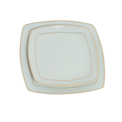 Dinner Plates - Gold Strip Square Design