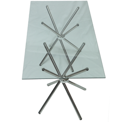 Table - Rectangle Glass Top Clear - 160cm x 80cm