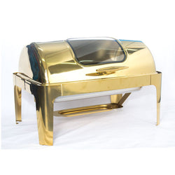 Chafing Dish - Rectangular Gold with glass