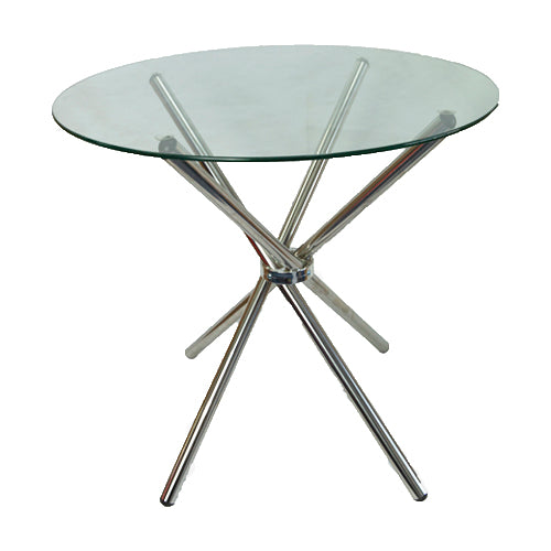 4 Seater Round Cafe Table - Clear Glass