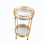 Server Trolley - Double Mirror Round - Gold