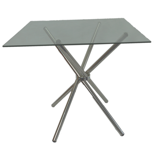 4 Seater Square Cafe Table - Clear Glass
