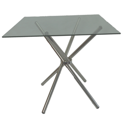 4 Seater Square Cafe Table - Black Glass