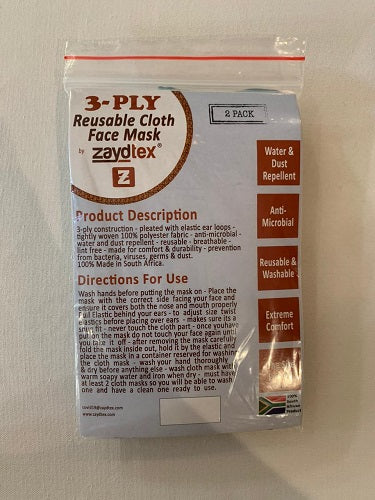 Face Mask - Re-usable Washable Anti-Microbial - 2's