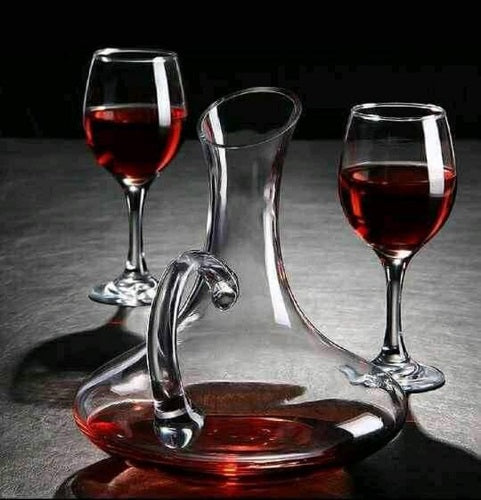 Carafe Bell 25cm + 6 Wine Glasses Clear