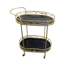 Server Trolley - Double Mirror Oval - Gold