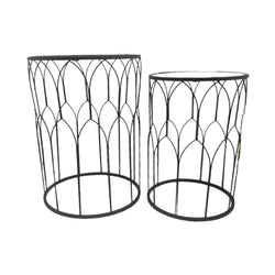 Server Tables - Geometric Side Table Set Round - Black