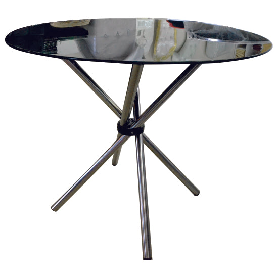 4 Seater Round Cafe Table - Black Glass