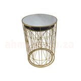 Server Tables - Geometric Side Table Set Round - Gold