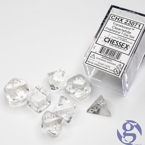 Chessex: CHX 23071 - Translucent Clear/white Polyhedral 7-Die Set