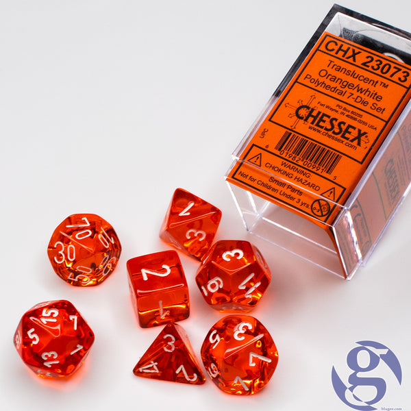 Chessex: CHX 23073 - Translucent Orange/white Polyhedral 7-Die Set