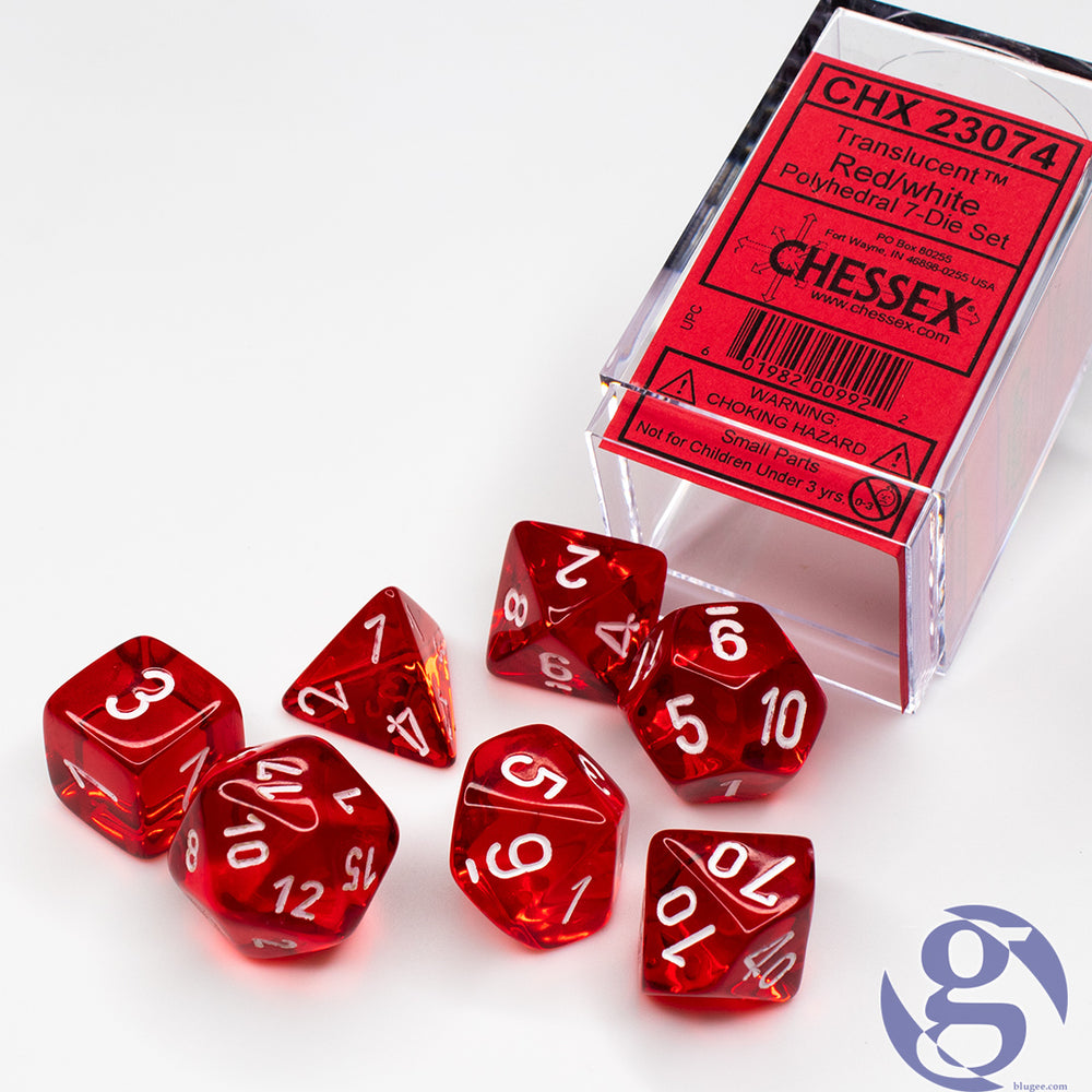 Chessex: CHX 23074 - Translucent Red/white Polyhedral 7-Die Set
