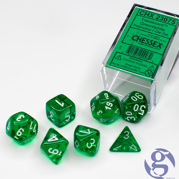 Chessex: CHX 23075 - Translucent Green/white Polyhedral 7-Die Set