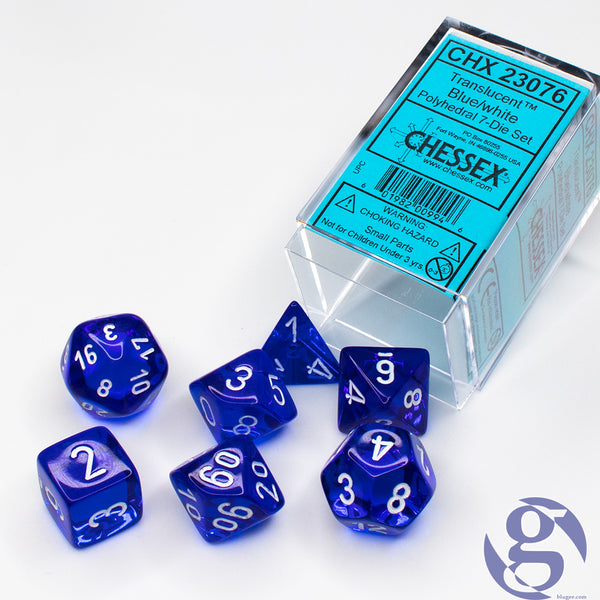 Chessex: CHX 23076 - Translucent Blue/white Polyhedral 7-Die Set
