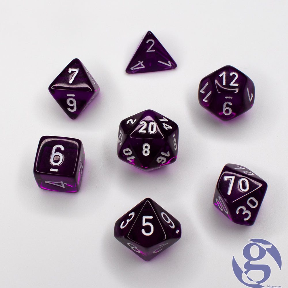 Chessex: CHX 23077 - Translucent Purple/white Polyhedral 7-Die Set
