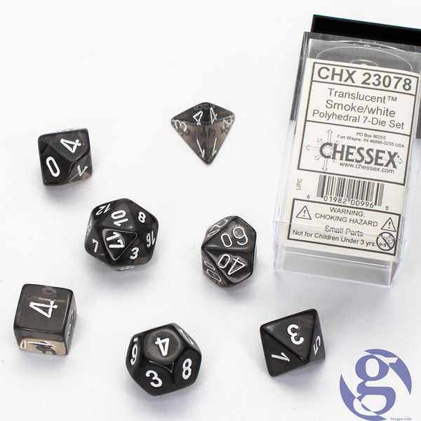 Chessex: CHX 23078 - Translucent Smoke/white Polyhedral 7-Die Set