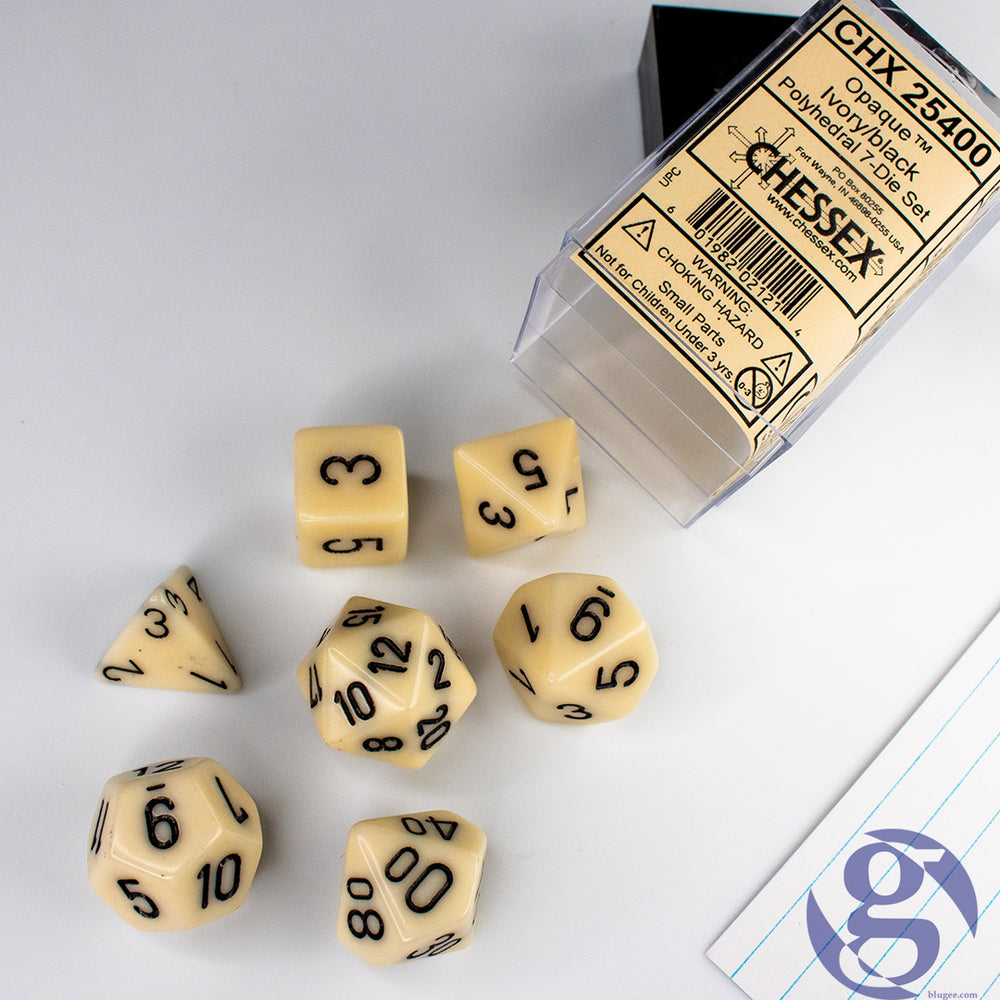 Chessex: CHX 25400 - Opaque Ivory/black Polyhedral 7-Die Set