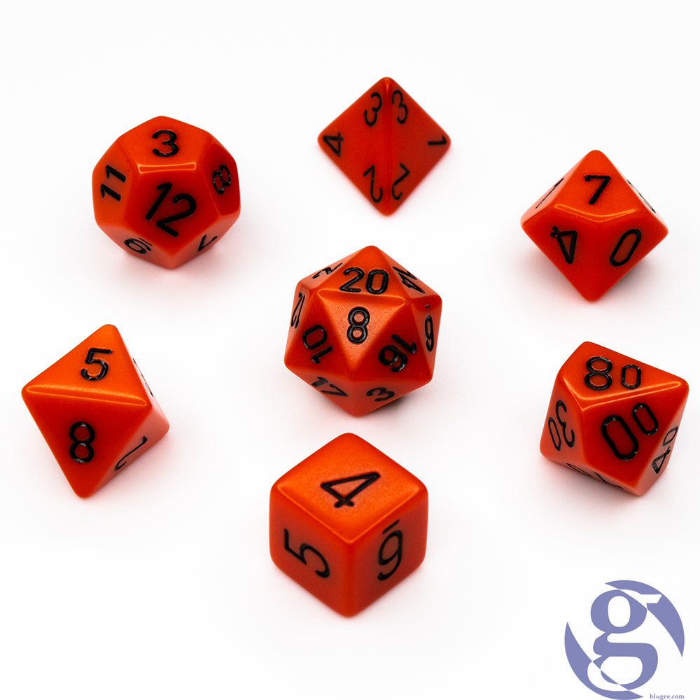 Chessex: CHX 25403 - Opaque: Orange/Black Polyhedral 7-Die Set