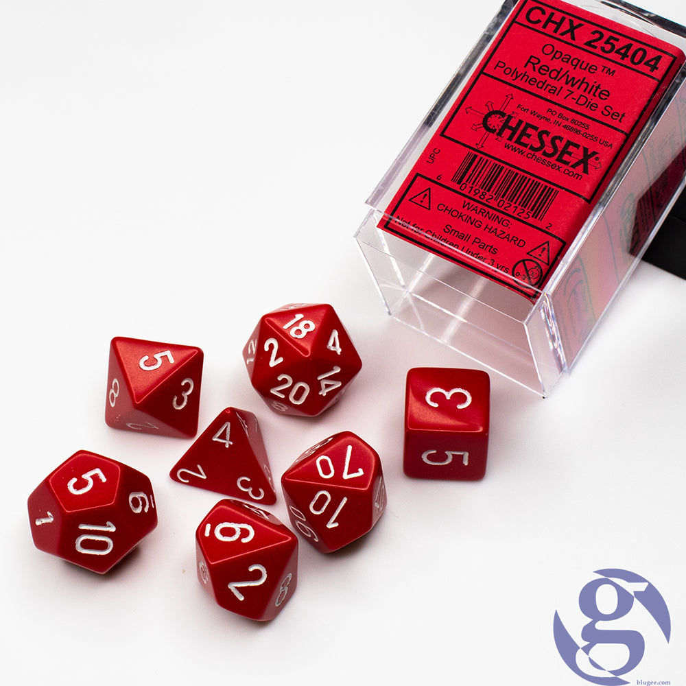 Chessex: CHX 25404 - Opaque Red/white Polyhedral 7-Die Set