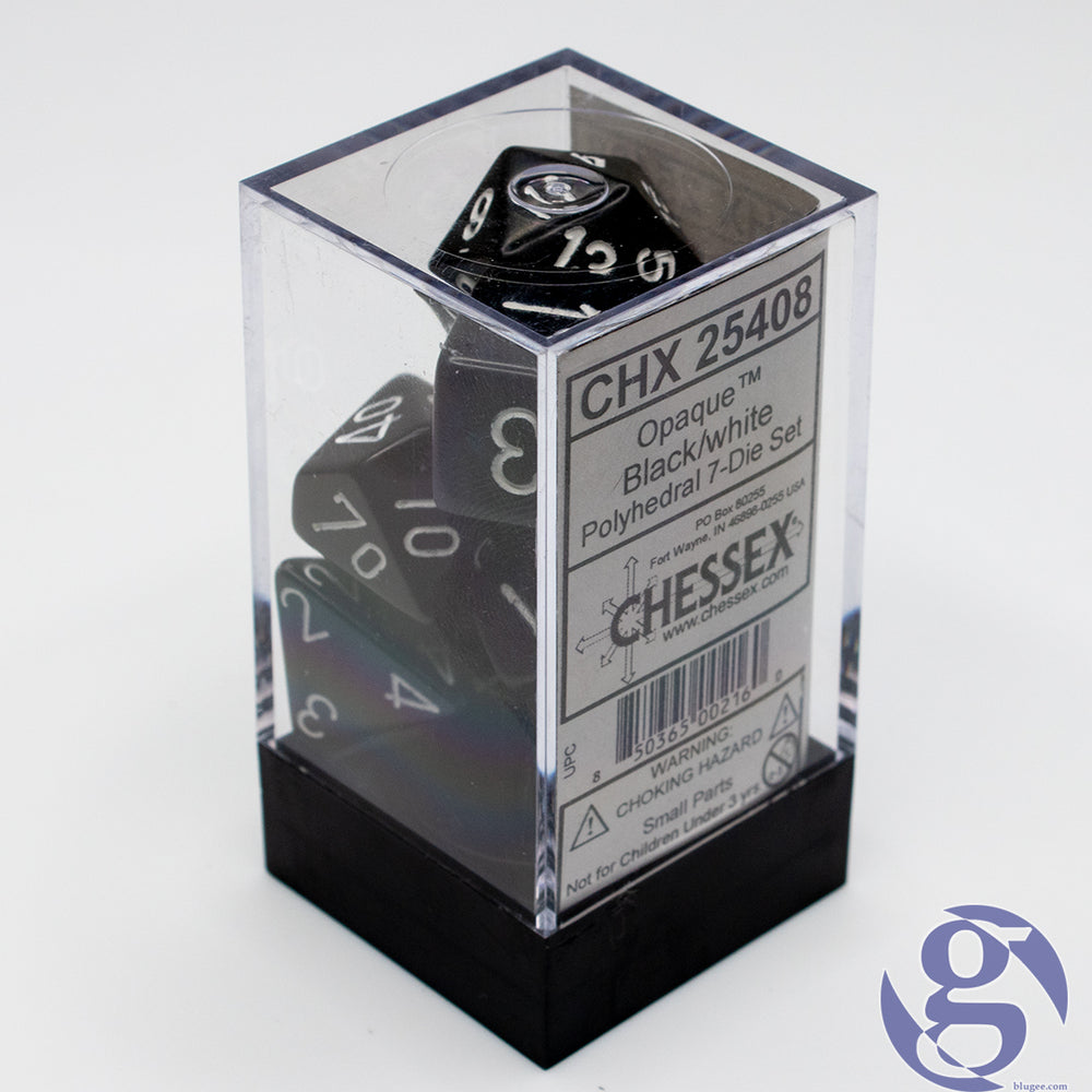 Chessex: CHX 25408 - Opaque: Black/White Polyhedral 7-Die Set