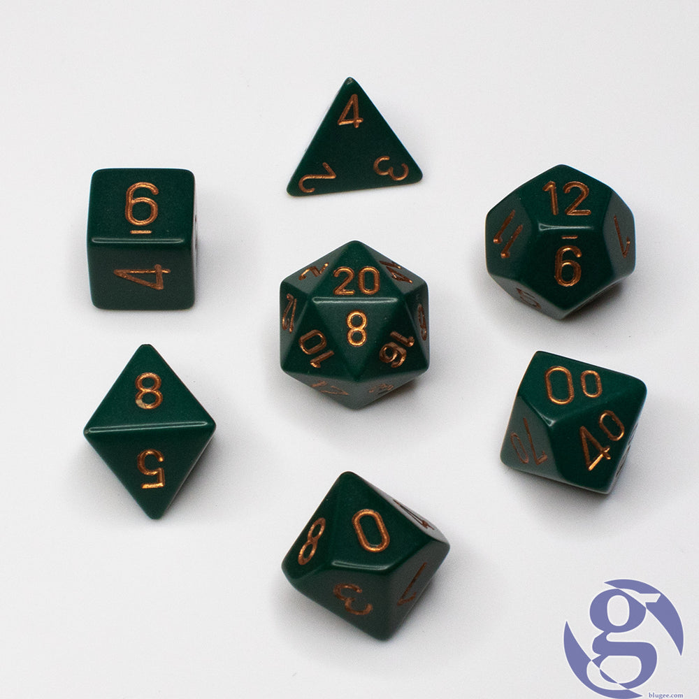Chessex: CHX 25415 - Opaque Dusty Green/copper Polyhedral 7-Die Set