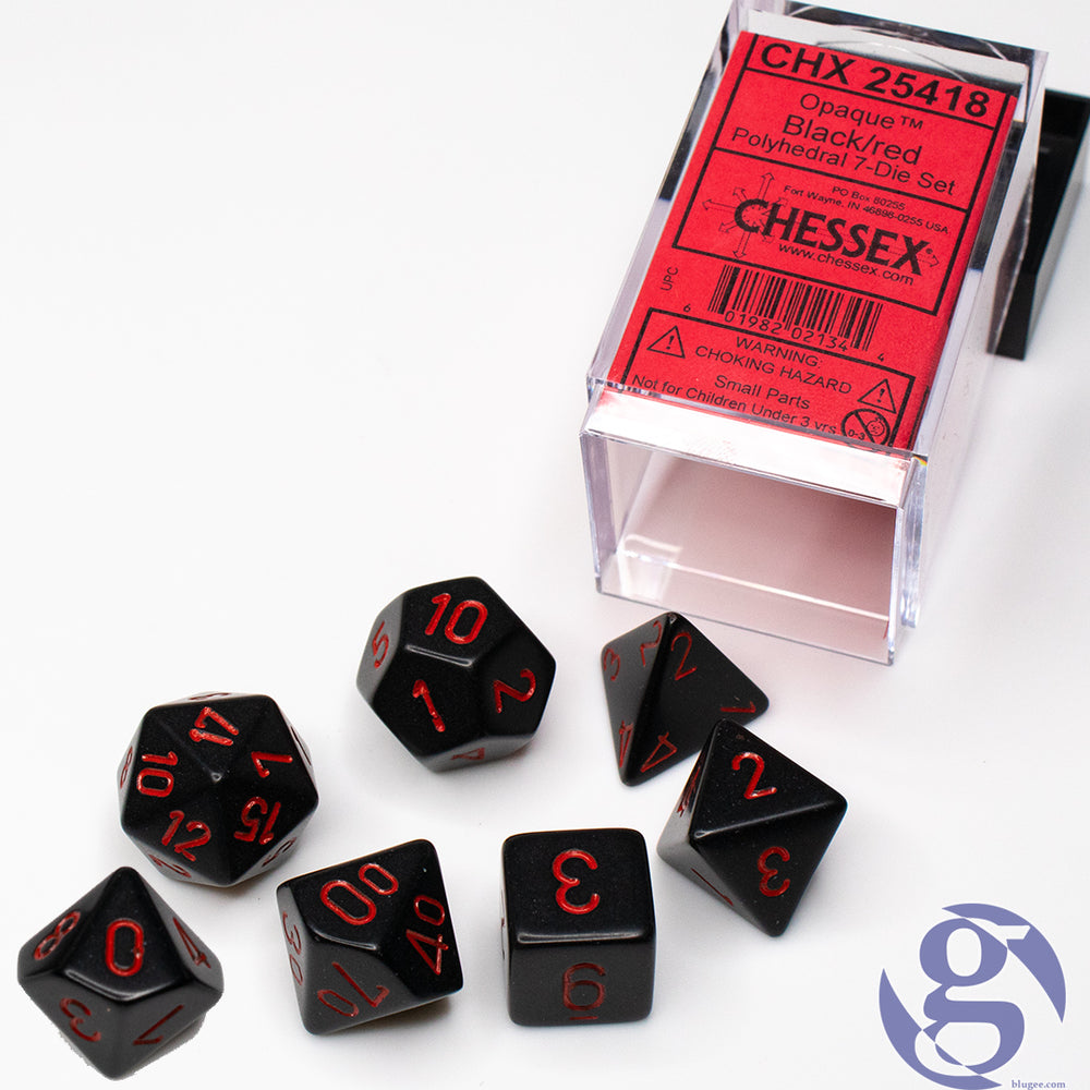 Chessex: CHX 25418 - Opaque Black/red Polyhedral 7-Die Set