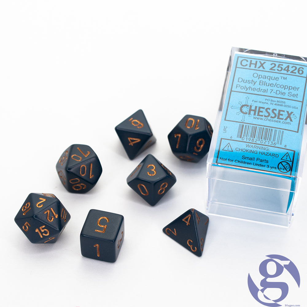 Chessex: CHX 25426 - Opaque Dusty Blue/copper Polyhedral 7-Die Set