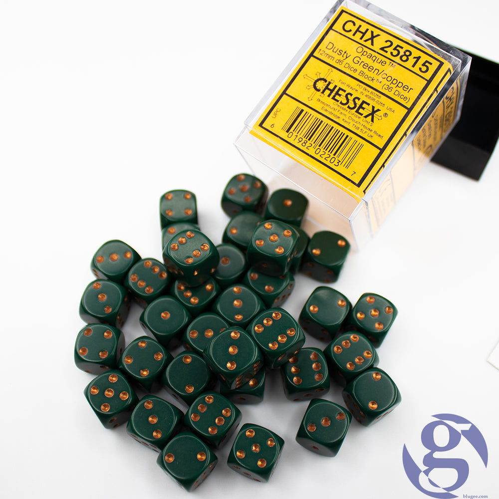 Chessex: CHX 25815 - Opaque Dusty Green/copper 12mm d6 Dice Set