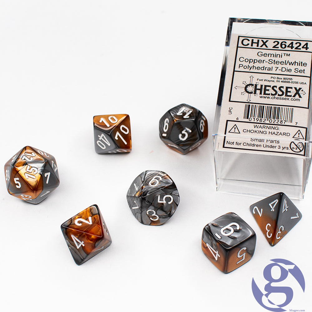 Chessex: CHX 26424 - Gemini Copper-Steal/white Polyhedral 7-Die set