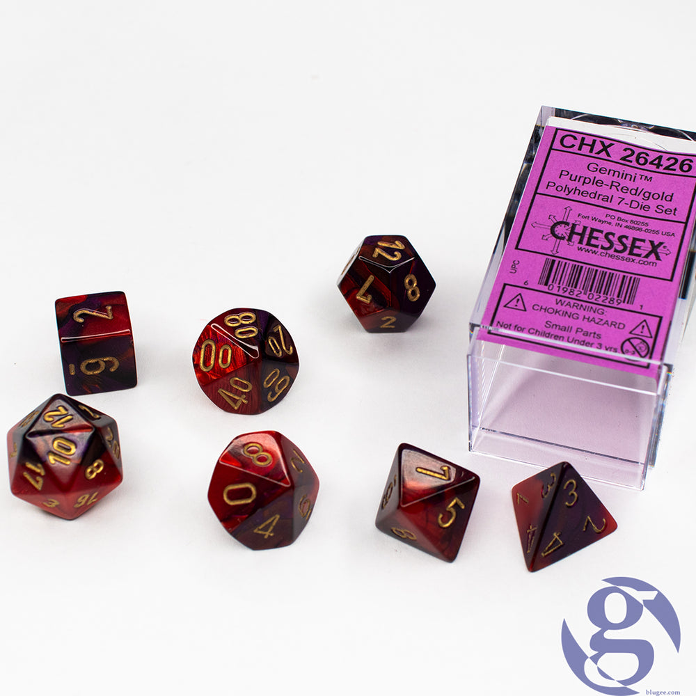 Chessex: CHX 26426 - Gemini Purple-Red/gold Polyhedral 7-Die set