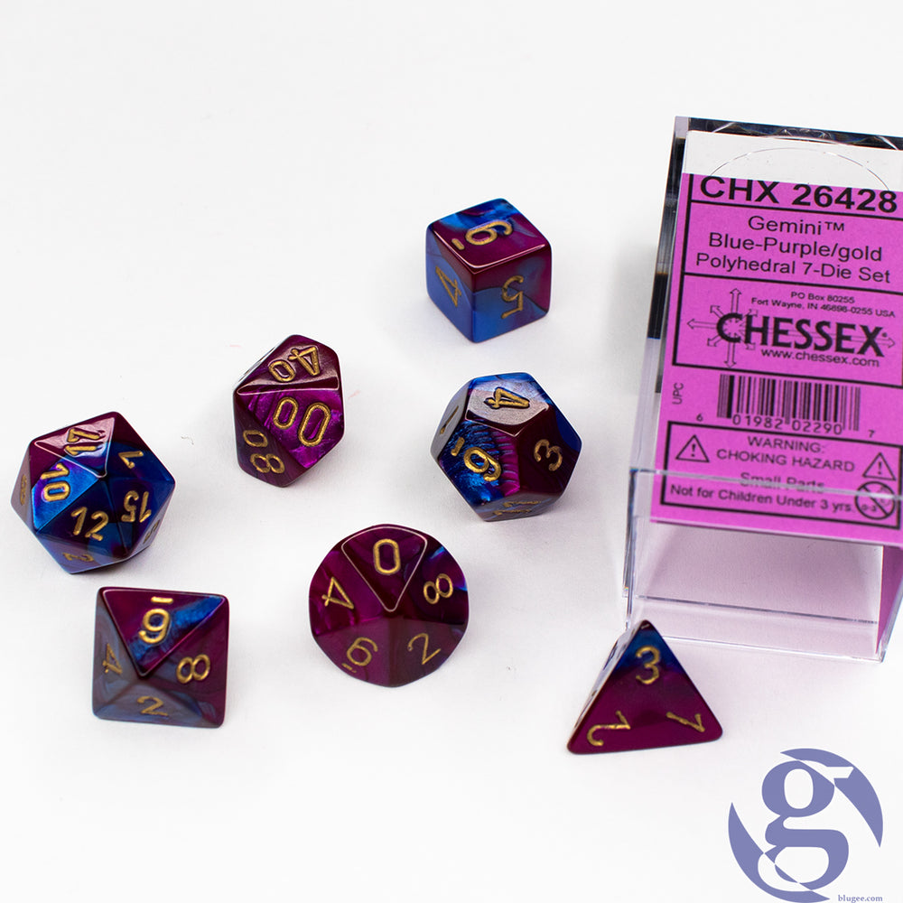 Chessex: CHX 26428 - Gemini Blue-Purple/gold Polyhedral 7-Die set
