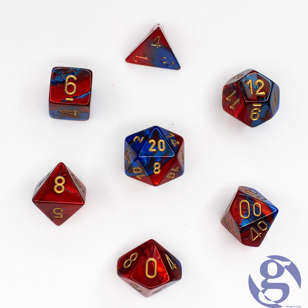 Chessex: CHX 26429 - Gemini Blue-Red/gold Polyhedral 7-Die set