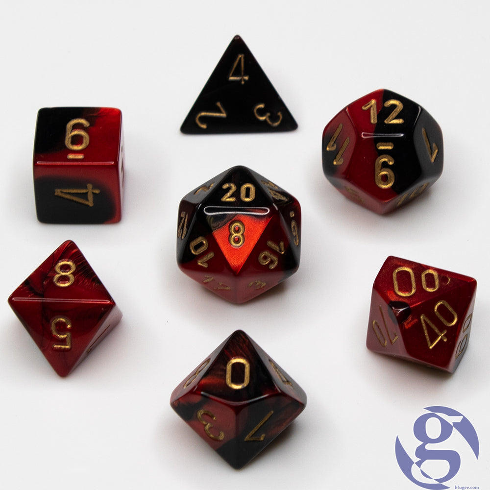 Chessex: CHX 26433 - Gemini Black-Red/gold Polyhedral 7-Die set