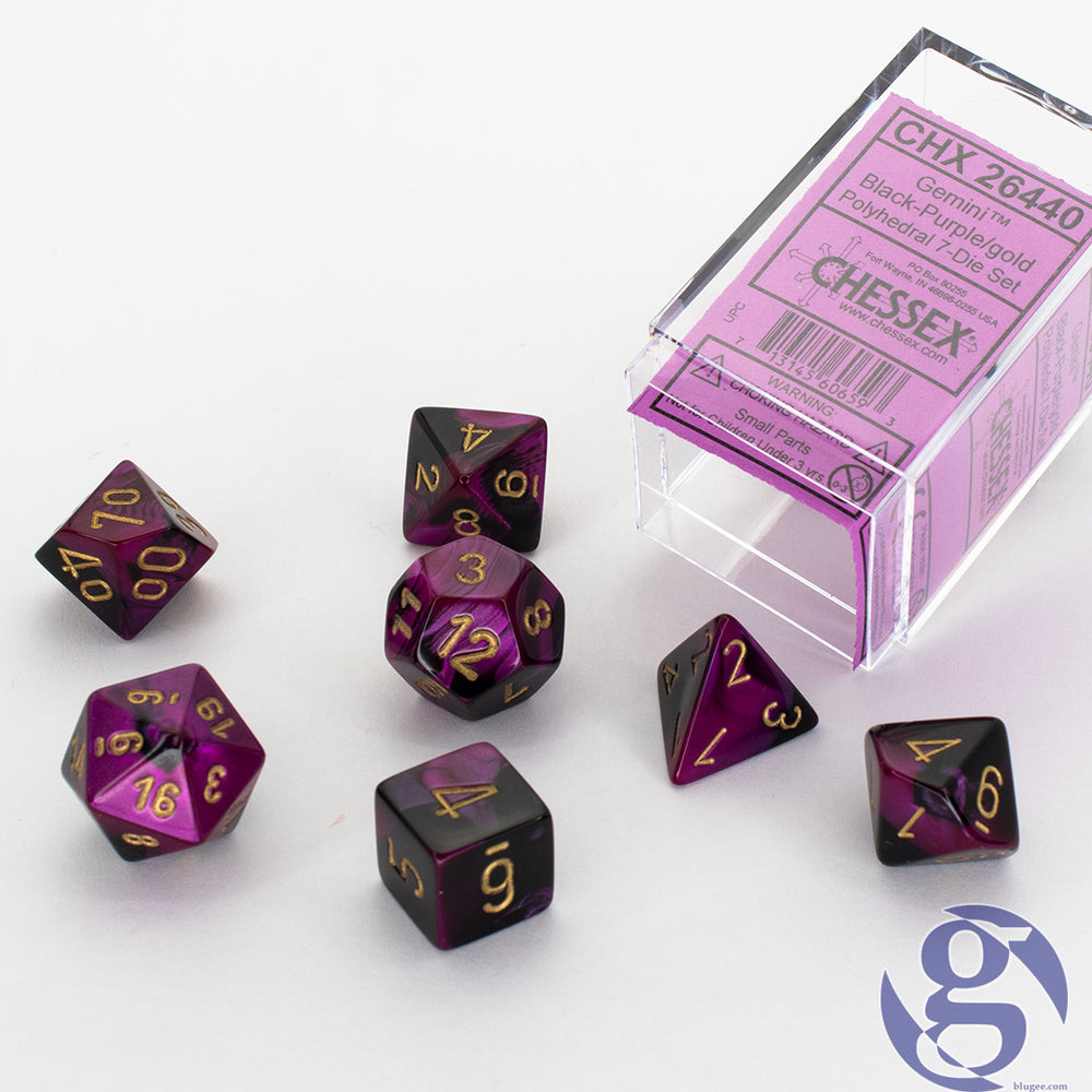 Chessex: CHX 26440 - Gemini Black-Purple/gold Polyhedral 7-Die set