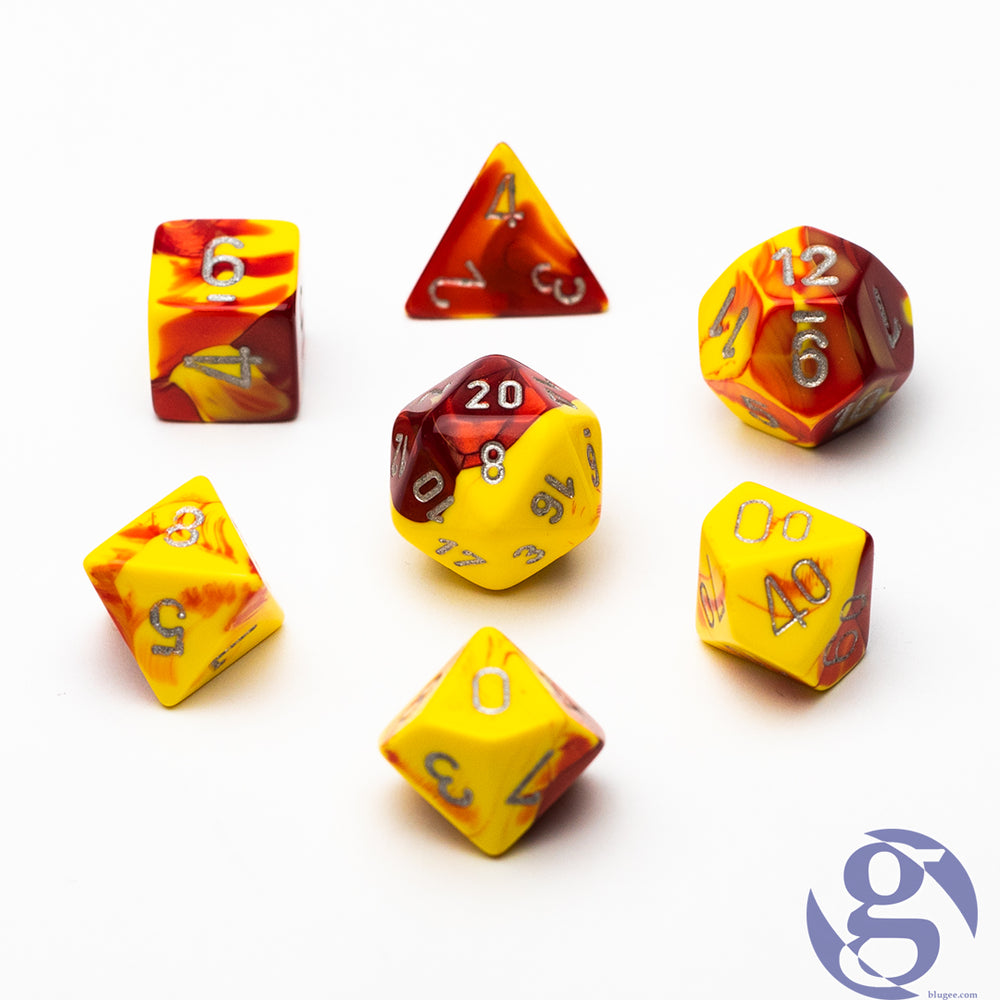 Chessex: CHX 26450 - Gemini Red-Yellow/silver Polyhedral 7-Die set