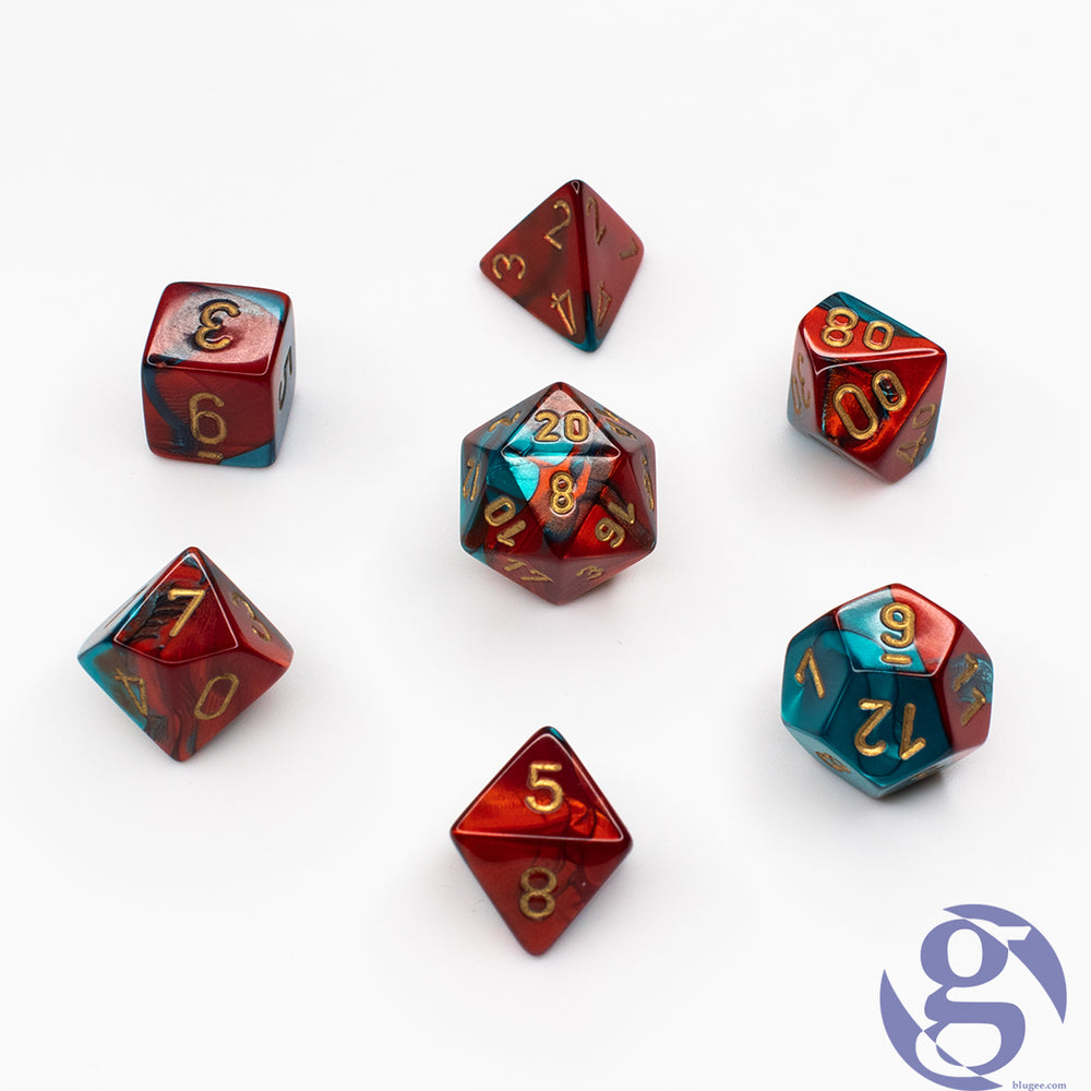 Chessex: CHX 26462 - Gemini Red-Teal/gold Polyhedral 7-Die set