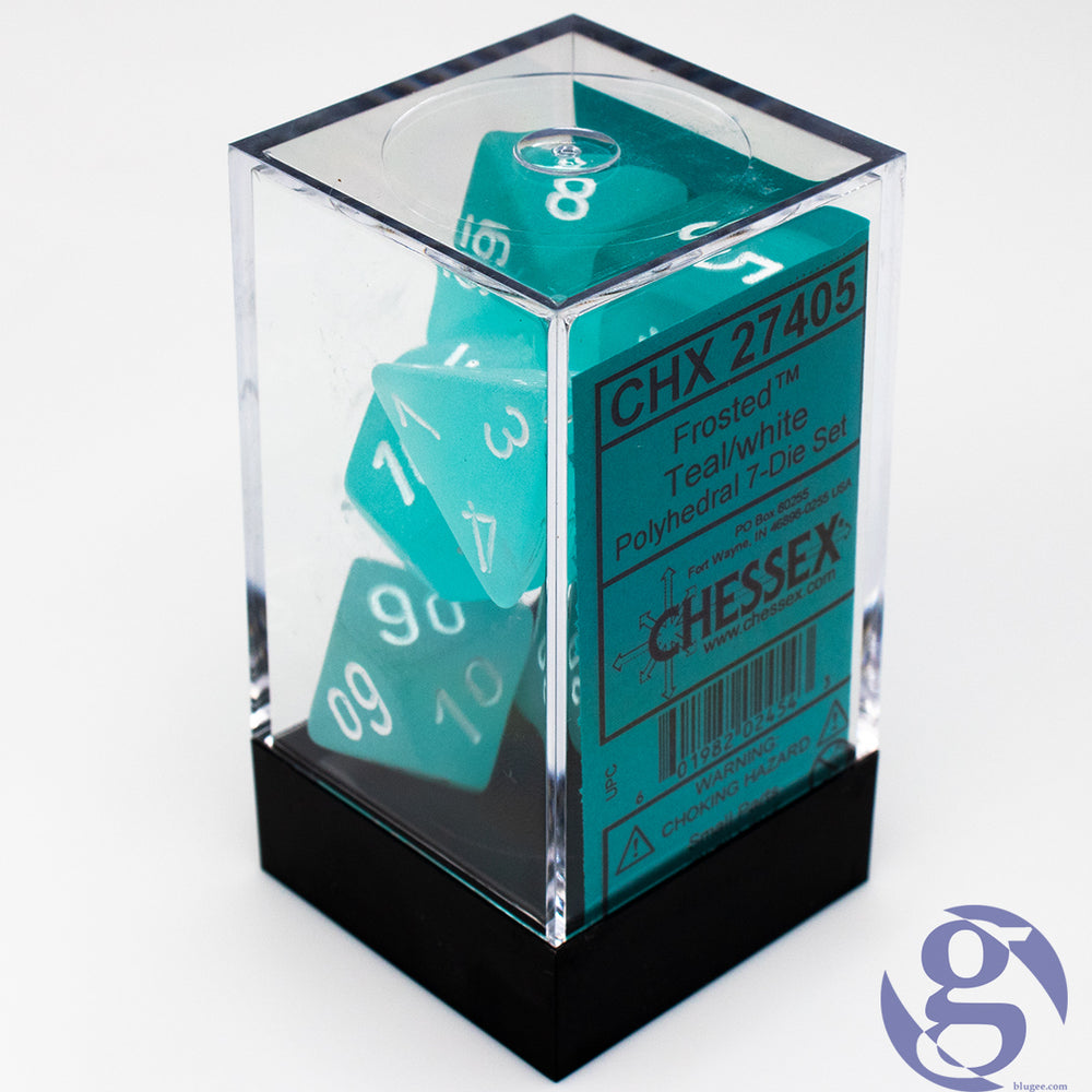 Chessex: CHX 27405 - Frosted Teal/white Polyhedral 7-Die Set