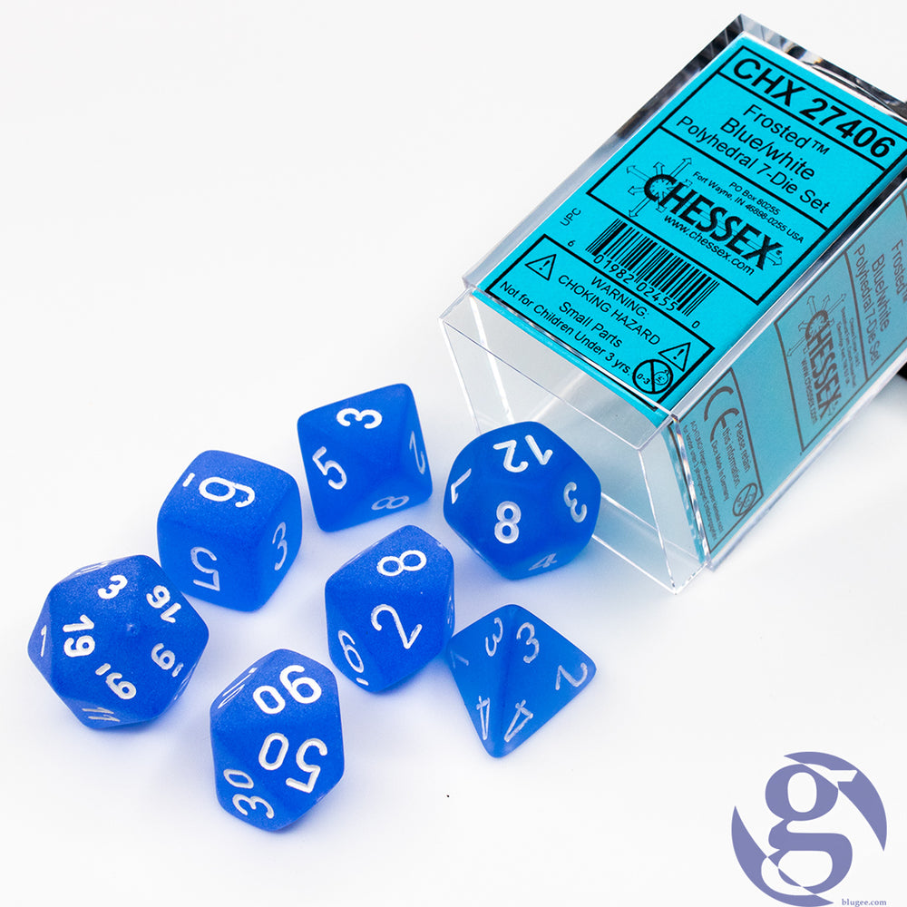 Chessex: CHX 27406 - Frosted Blue/white Polyhedral 7-Die Set