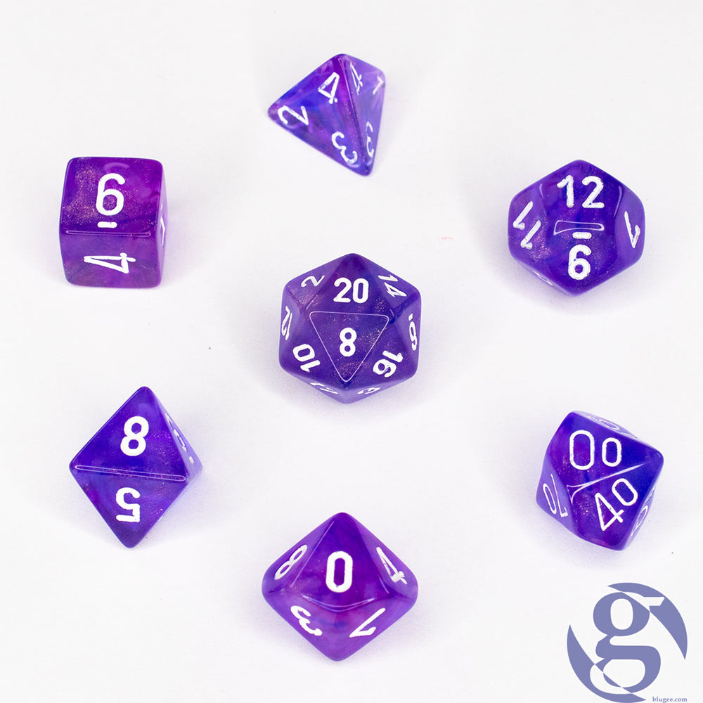 Chessex: CHX 27407 - Borealis Purple/white Polyhedral 7-Die Set